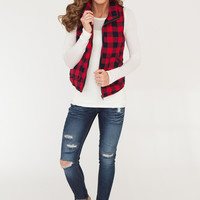 Plaid Quilted Vest - Red/Black