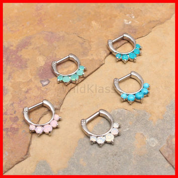 Opal Septum Ring 16g 14g Septum Clicker Opalite Ring Opal Earring Jewelry Pink Opal Septum Clicker Fire Opal Blue Opal Nose Green Opal