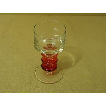Designer Wine Drinking Glass 7in H x 3 3/4in D Red/Clear Long Stem Glass -- Used
