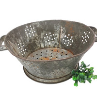 Vintage Colander Strainer with Handles, Farmhouse Kitchen Basket, Rustic Metal Garden Planter, Industrial Chic Primitive Pierced Metal Bowl