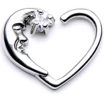 """16 Gauge 3/8"""" Clear CZ Gem Star in the Moon Right Heart Closure Ring"""