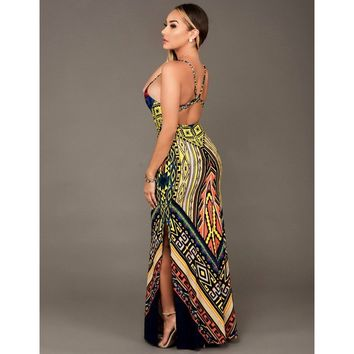 Bold Print Backless Bandage Split Bodycon Dress