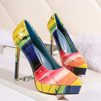 New Multicolor Point Toe Stiletto Floral Print Fashion High-Heeled Shoes