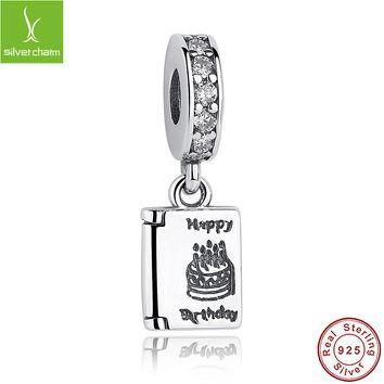 Real 925 Sterling Silver Birthday Wishes Charm Fit Original Pandora Bracelet Necklace