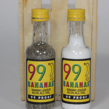 Salt & Pepper Shaker from Upcycled 99 Banana Mini Liquor Bottles