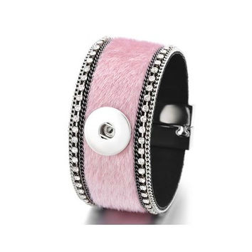 Pink Fur Magnetic Snap Bracelet 18mm-20mm