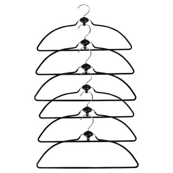 Evelots Swivel Non Slip Rubber Coated Metal Cascading Space Saving Hangers,6 Set