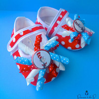 Dr. Seuss Cat in the Hat Inspired Baby Shoes - 1st Birthday, Photo Prop