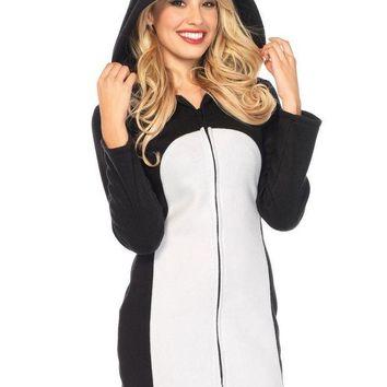DCCKLP2 Batz Maru Cozy,zipper front fleece dress w/hood in BLACK/WHITE