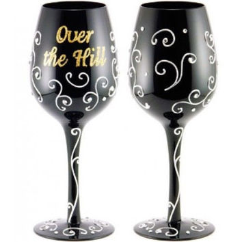 hand painted stem glasses over the hill theme make great gift