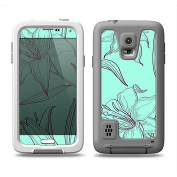 The Teal & Brown Thin Flower Pattern Samsung Galaxy S5 LifeProof Fre Case Skin Set
