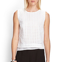 FOREVER 21 Square Patterned Top White