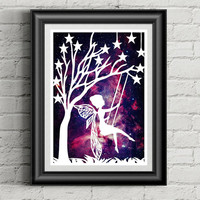 Fairy Papercut, Fantasy Art, Star Art, Nursery Wall Art, Baby Girl Nursery, Birthday Gifts, Gifts For Her, Galaxy Art, Fairy Illustration