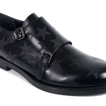 Valentino Mens Black Star Detail Monk Strap Loafers