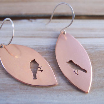 Bird Earrings, Long Earrings, Bird jewelry, Bird Lover Jewelry, Nature Lover Jewelry, Copper Jewelry, Mixed Metal Jewelry, Dangle Earrings,