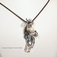 Silver Tone Giraffe and Calf Paua Abalone Shell Pendant Necklace Cord