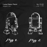 Star Wars R2D2 Patent T-Shirt Mens Gift Idea Movie Tee