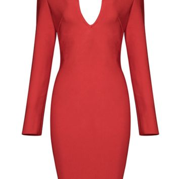 'Darra' Sweetheart Bandage Dress - Red