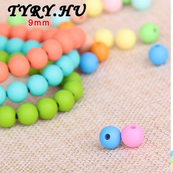 200pc Silicone Teether Toy 9mm Round Loose Beads Baby Chew Jewelry Teething Necklace Mom DIY Supplies Infant Sensory Nurse Gifts