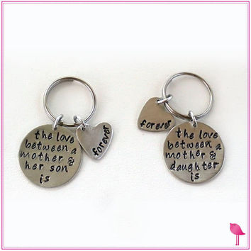 The Love Between a Mother Daughter or Son Hand Stamped Bling Chicks Keychain