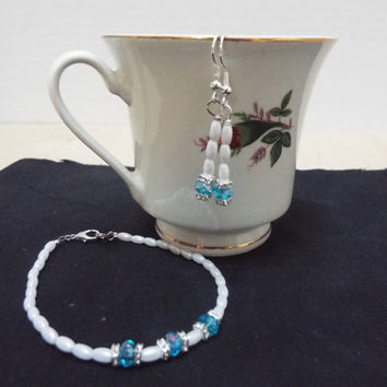 Birthstone Bracelet, Aquamarine and Pearl Bracelet with matching Earrings, Bracelet and Earring Set, March / October Birthday Jewlery