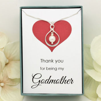 Thank you for being my godmother gift Sterling Silver necklace christening gift from godchild, gifts for godmothers infinity Swarovski pearl
