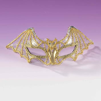 Mardi Gras Gold Lace Bat Eyemasks