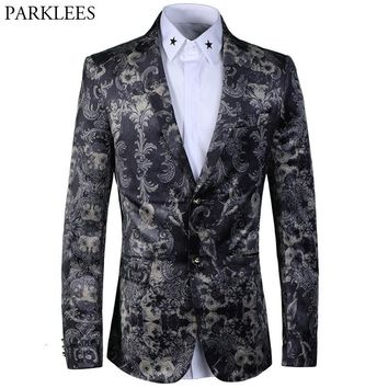 Paisley Floral Print Blazer Men 2018 Luxury Brand New Blazer Masculino Mens Slim Fit Single Breasted Wedding Stage Suit Blazers