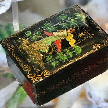 Russian Folk Art Box Ring Trinket Black Red Lacquer Lacquered Artist Signed Hand Painted Gold Trim  Portrait Lady Woman Landscape Art Box