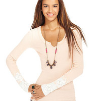 Free People Top, Long-Sleeve Split-Neck Embroidered Cuff - Womens Tops - Macy's