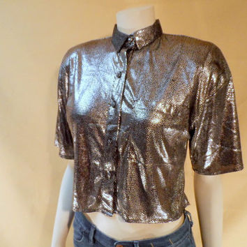 80's Metallic Shirt Silver & Black Collar Short Sleeve Blouse, U-TURN of CALIFORNIA Polka Dot Glam Top Small Medium Crop Top Rave Disco