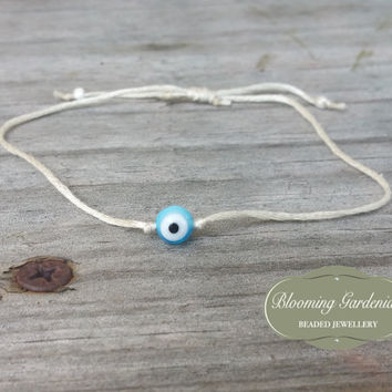 Adjustable Bracelet, Evil Eye Bracelet, Evil Eye Charm, Blue Evil Eye, Cotton Thread, Minimal, Skinny Bracelet, Thin Stacking Bracelet