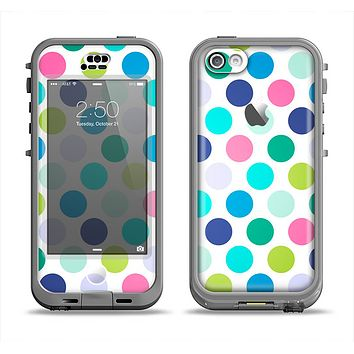 The Vibrant Colored Polka Dot V1 Apple iPhone 5c LifeProof Nuud Case Skin Set
