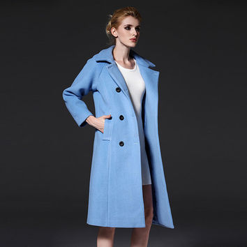 Women's Powder blue Wool Coat -  woman coat- Custom wool coat- Double Breasted Wool Coat- winter coat