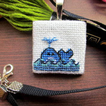 Whale Necklace, Whale Cross Stitch, Cross Stitch Necklace, Cross Stitch Pendant, Handmade Necklace, Cute Necklace, Animal Necklace, Blue
