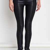 Faux Leather and Suede Skinny Pants