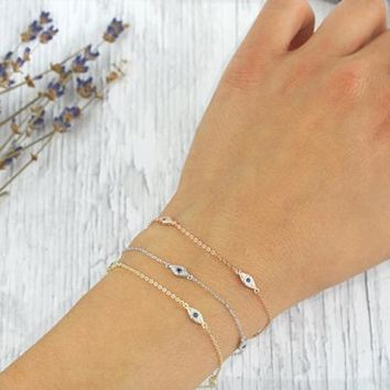 925 sterling silver bracelet minimal delicate design for girl women gift 16+5cm extend chain turkish evil eye lucky jewelry