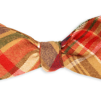 Mattox Flannel Plaid Bow Tie in Brown and Red by High Cotton