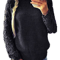 Long Sleeve Floral Lace Embroidered Pullover Sweater