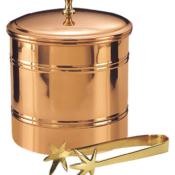 Old Dutch Ice Bucket with Brass Tongs Set (2 PC) - Copper