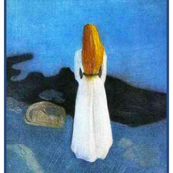 Young Woman on Shore by Symbolist Artist Edvard Munch Counted Cross Stitch or Counted Needlepoint Pattern