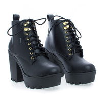 Climate Lace Up Lug Sole Chunky High Heel Platform Ankle Boots