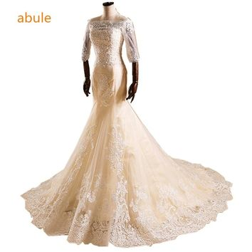 Romantic Wedding Dresses 2018 Mermaid Sexy boat neck lace up champagne Custom Wedding Gowns Bridal appliques Vestido De Noiva