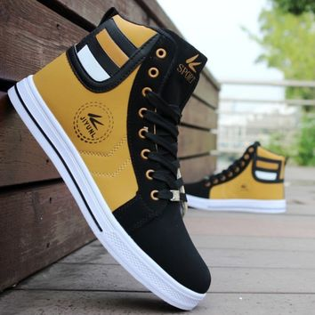 Mens Round Toe High Top Sneakers Casual Lace Up Skateboard Shoes Newest Style 3 Colors