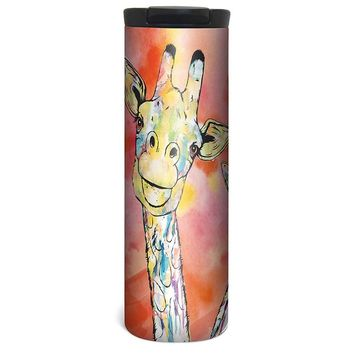 Cute Giraffe Pair Barista Tumbler Travel Mug - 17 Ounce, Spill Resistant, Stainless Steel & Vacuum Insulated