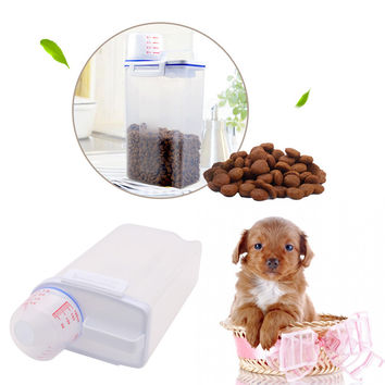 1PC PP Pet Food Storage Container Dog Cat Pet Dry Food Dispenser With Cup Pet Supplies Cat Dishes Feeders Fountains