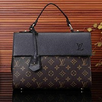 LV Louis Vuitton Women Print Leather Satchel Shoulder Bag Tote Handbag I