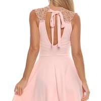 PEACH SCUBA KNIT CROCHET KNIT HALTER A-LINE DRESS