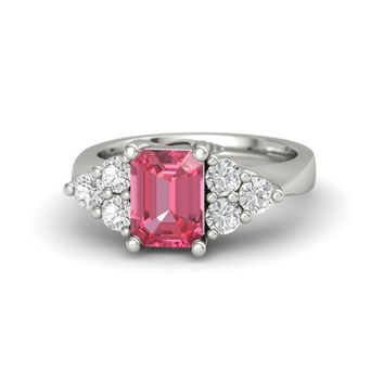 Emerald-Cut Pink Tourmaline 14K White Gold Ring with White Sapphire
