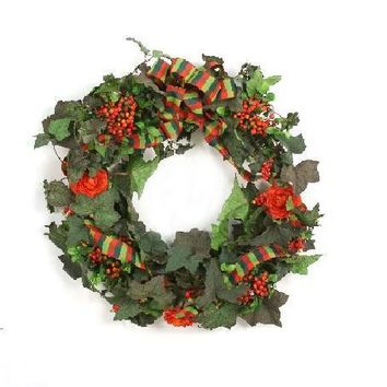 Green Ivy Wreath with Red Orange Berries